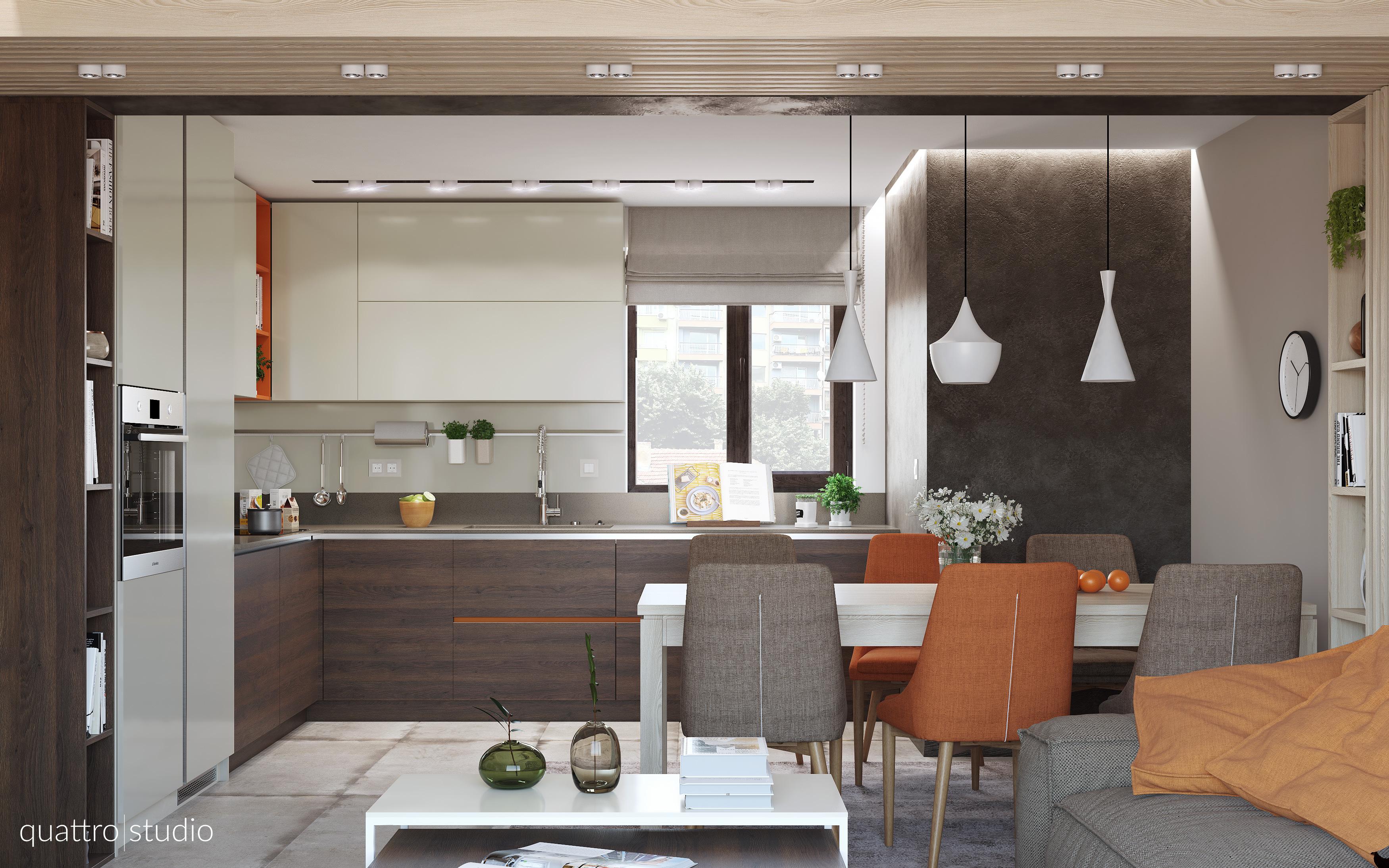 Interior design of apartment 90m2 Quattro Studio